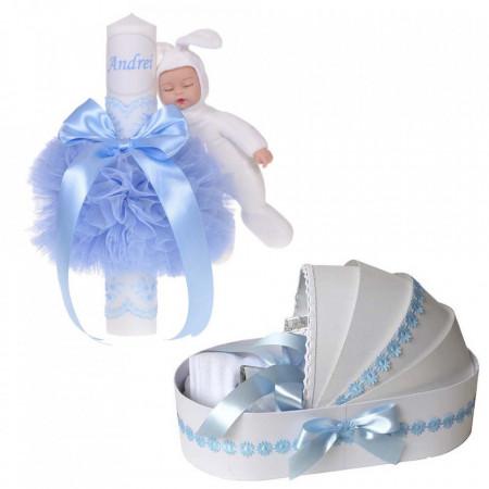 Lumanare botez cu iepuras, personalizata si trusou botez in landou, decor Bleu cu floricele, Denikos® 801
