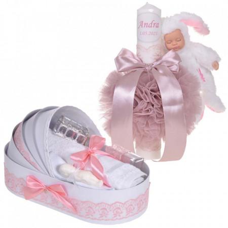 Lumanare botez cu iepuras, personalizata si trusou botez in landou, decor dantela Roz pudra, Denikos® 875