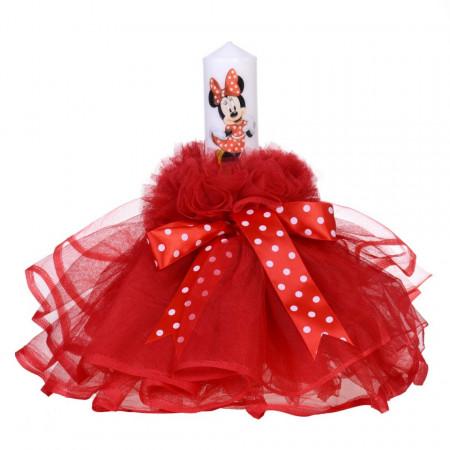 Lumanare botez fetita, rochita rosie si fundita cu buline, Denikos® 79
