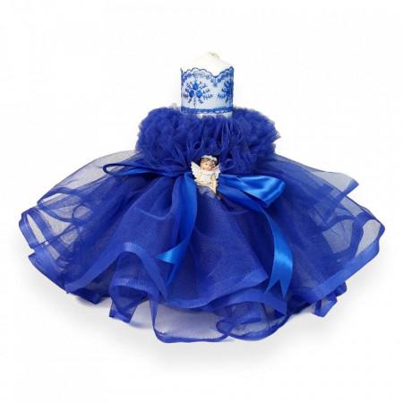 Lumanare botez tul albastru, fundita asortata si ingeras, Denikos® 405