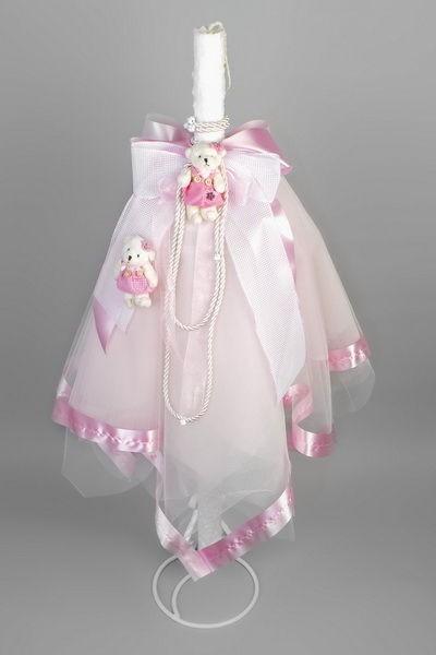 Lumanare botez ursuleti roz LB008R