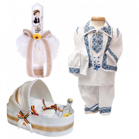 Set botez national baietel, trusou botez landou, lumanare si costum popular baiat, Denikos® 964