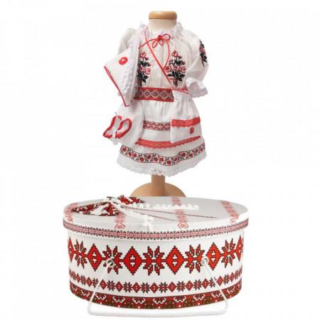 Set costum national botez fetita si cutie trusou asortata, Denikos® 1005