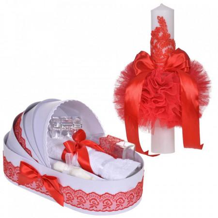 Set elegant lumanare botez si trusou botez in landou, decor dantela Rosie, Denikos® 883