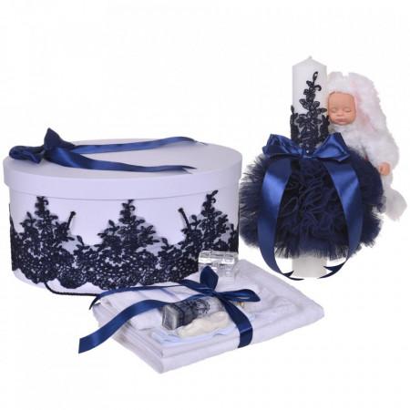 Set elegant trusou botez, cutie trusou si lumanare iepuras pufos, dantela si fundite, decor Bleumarin, Denikos® 927