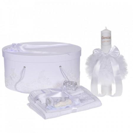 Set elegant trusou botez, cutie trusou si lumanare personalizata cu nume, decor dantela Alba, Denikos® 943