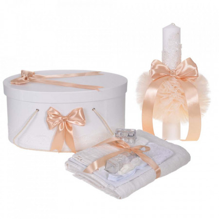 Set trusou botez, cutie trusou si lumanare, decor elegant dantela Crem, Denikos® 923