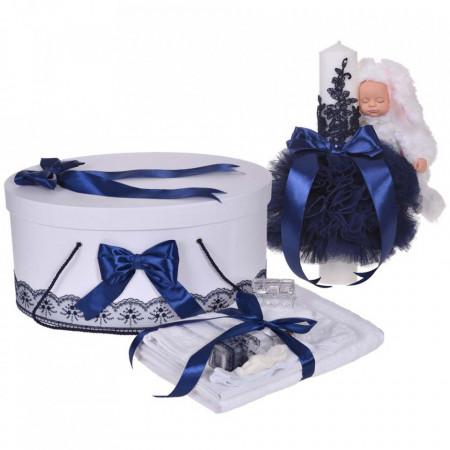 Set trusou botez, cutie trusou si lumanare iepuras pufos, dantela si fundite, decor Bleumarin, Denikos® 891