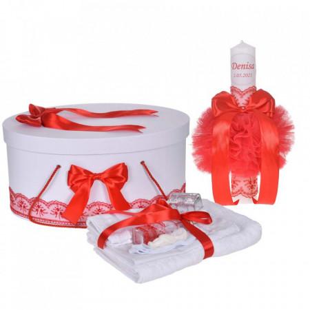 Set trusou botez, cutie trusou si lumanare personalizata cu nume, decor Rosu, Denikos® 901