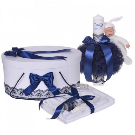 Set trusou botez, cutie trusou si lumanare personalizata cu nume, decor Bleumarin cu iepuras, Denikos® 909