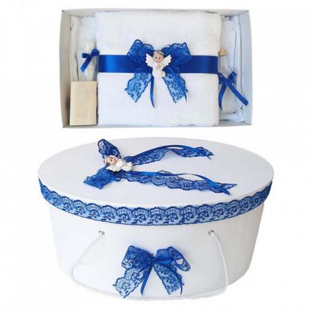 Set trusou botez si cutie trusou, Ingeras, dantela albastra, Denikos® 445