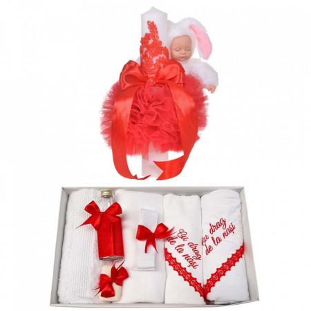 Trusou botez cu mesaj si lumanare eleganta glob cu dantela si iepuras pufos, decor rosu, Denikos® 761