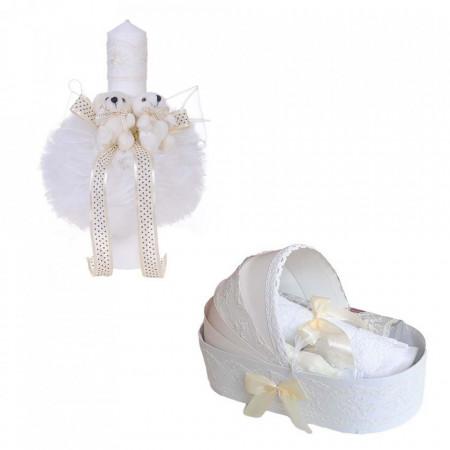 Trusou botez in landou si lumanare glob cu ursuleti, decor ivoire Denikos® 157