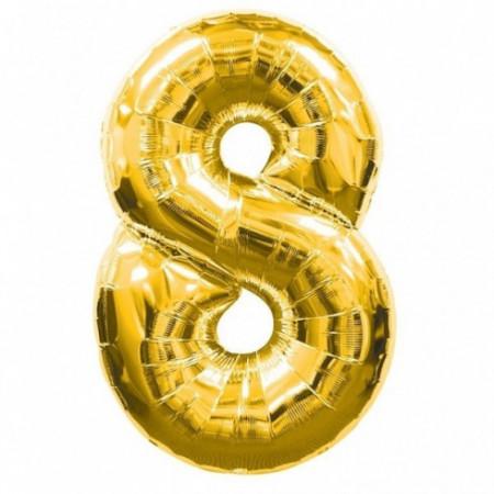 Balon folie cifra 8 auriu