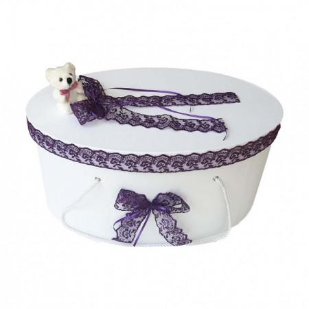 Cutie trusou botez dantela mov si ursulet, Denikos® 398
