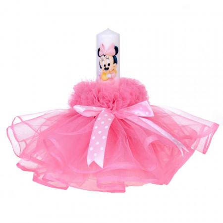 Lumanare botez baby girl, rochita roz si fundita cu buline, Denikos® 80