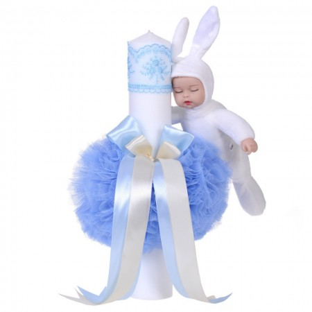 Lumanare botez jucarie iepuras, decor bleu, Denikos® 60