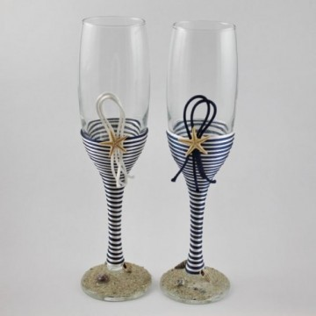 Pahare nunta miri decorate marin snur satinat alb si bleumarin PN004