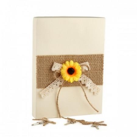 Poze Set 50 cruciulite botez cu snur iuta si cutie cadou tema rustica CC-011