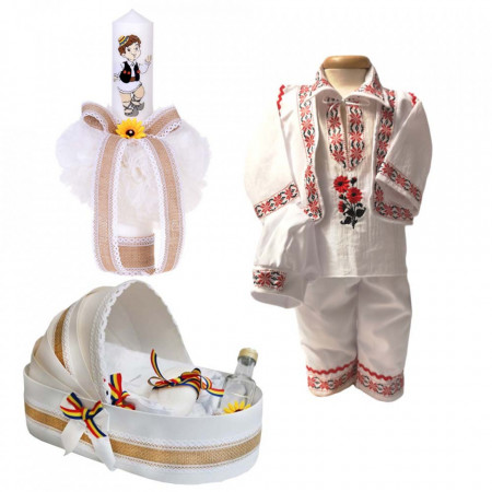 Set botez popular baietel, trusou botez landou, lumanare si costum traditional baiat, Denikos® 965