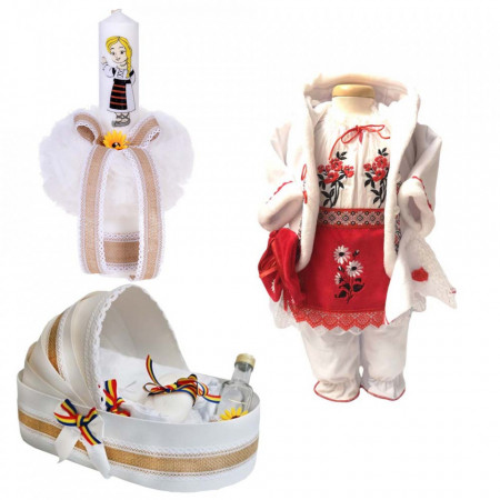 Set botez traditional fetita, trusou botez landou, lumanare si costum traditional, Denikos® 981