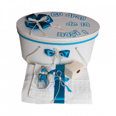 Poze Set cutie trusou personalizata si trusou botez, decor turcoaz Denikos® 237