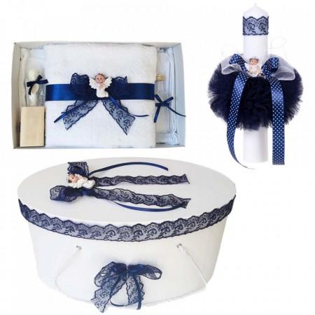 Set trusou botez, cutie trusou si lumanare, Ingeras, dantela bleumarin, Denikos® 473
