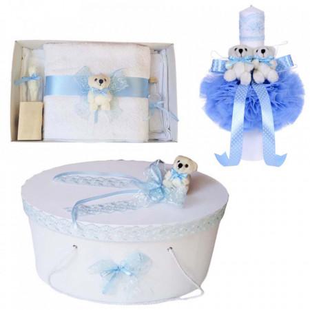 Set trusou botez, cutie trusou si lumanare, Ursulet, dantela bleu, Denikos® 468