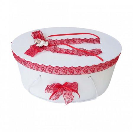Set trusou botez si cutie trusou, Ingeras, dantela rosie, Denikos® 452