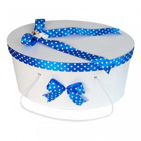 Set trusou botez si cutie trusou, Ingeras, fundita albastra cu buline, Denikos® 20