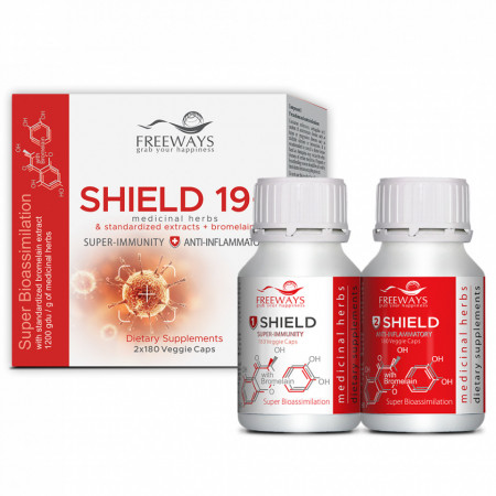 Shield 19+, tonifierea si imbunatatirea sistemului imunitar, 2x180 cps