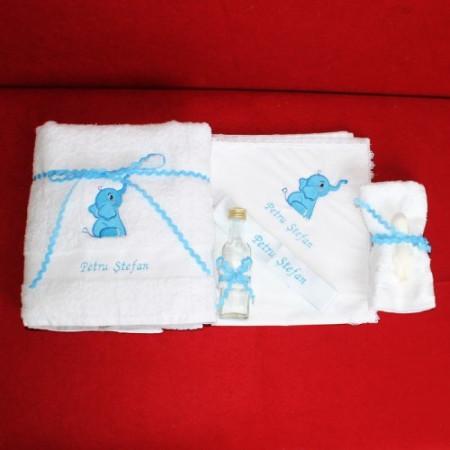 Trusou botez complet elefant bleu personalizat cu numele copilului NKTB012
