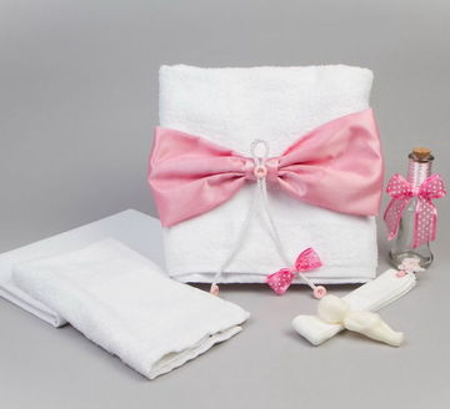 Trusou botez cu fundita roz NK0003