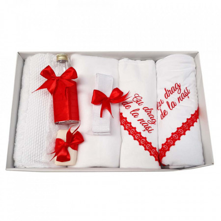 Trusou botez cu mesaj si lumanare cu iepuras, decor rosu, Denikos® 544