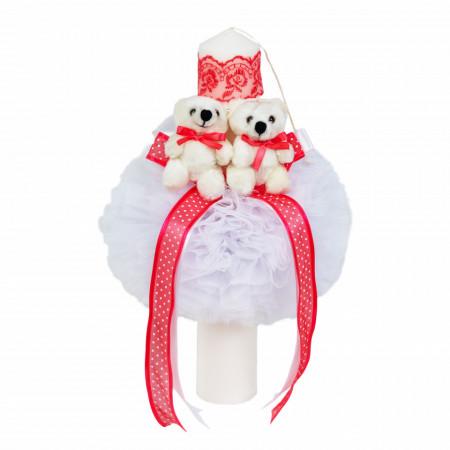 Trusou botez cu ursulet si lumanare glob, dantela si ursuleti, decor Corai, Denikos® 602
