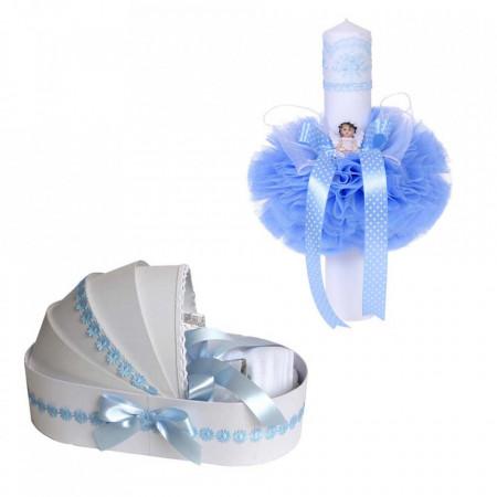 Trusou botez in landou si lumanare cu ingeras, decor bleu Denikos® 111