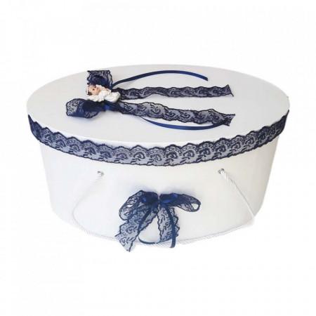 Cutie trusou botez dantela bleumarin si ingeras, Denikos® 384
