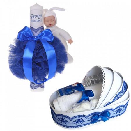 Lumanare botez cu iepuras, personalizata si trusou botez in landou, decor Albastru, Denikos® 805