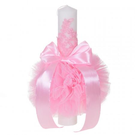 Lumanare botez eleganta cu tul, dantela si fundita, decor roz, Denikos® 704