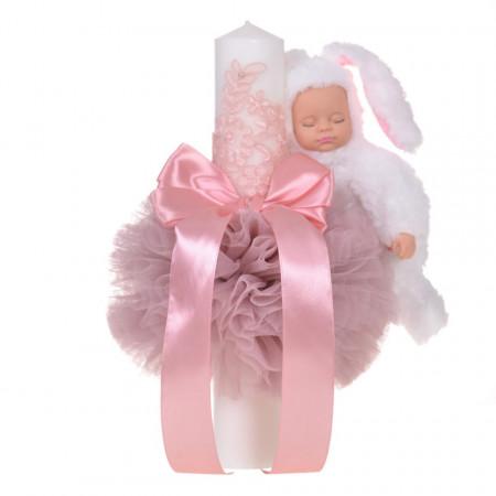 Lumanare botez jucarie iepuras pufos si dantela, decor roz pudra, Denikos® 714