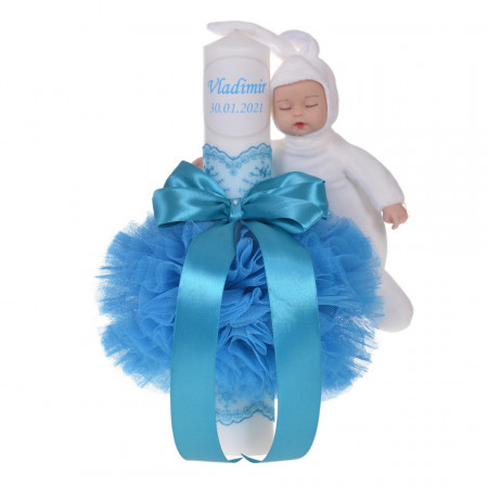 Lumanare botez personalizata, decor turcoaz cu tul, dantela si o jucarie iepuras, Denikos® 734