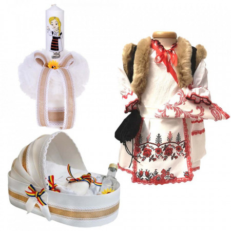Set botez traditional fetita, trusou botez landou, lumanare si costum traditional, Denikos® 975