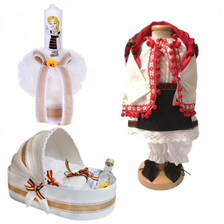 Set botez traditional fetita, trusou botez landou, lumanare si costum traditional, Denikos® 983
