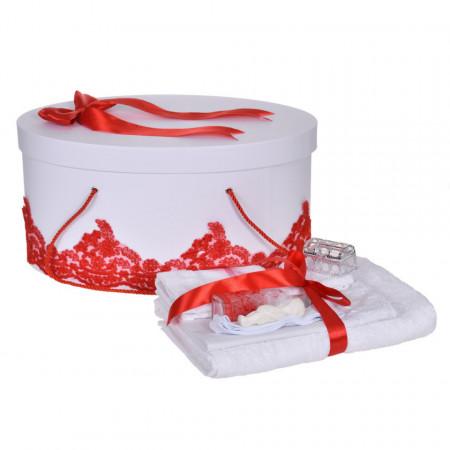 Set trusou botez si cutie trusou, dantela si fundita, decor elegant Rosu, Denikos® 849