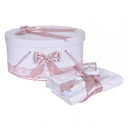 Set trusou botez si cutie trusou, dantela si fundite, decor Roz pudra, Denikos® 839