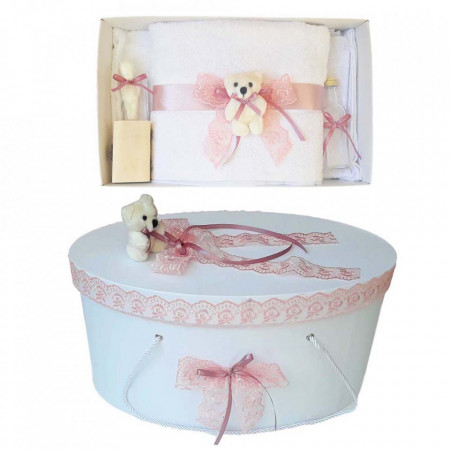 Set trusou botez si cutie trusou, Ursulet, dantela dusty rose, Denikos® 465
