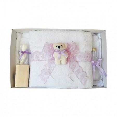 Set trusou botez si cutie trusou, Ursulet, dantela lila, Denikos® 462