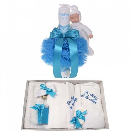 Trusou botez cu mesaj si lumanare botez personalizata, decor turcoaz cu iepuras, Denikos® 795