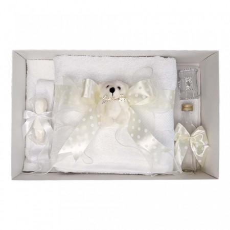 Poze Trusou botez fundita ivory cu buline, cu ursulet, Denikos® 36