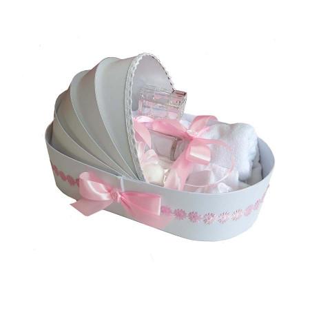 Trusou botez in landou cu floricele si lumanare cu iepuras, decor roz Denikos® 108